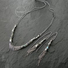 Sterling silver and labradorite necklace & earrings by studioformood