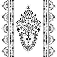 Indian style 436989970090512258 - Illustrazione del vettoriali, clipart e vettori stock Set of Mehndi flower pattern and seamless border for Henna drawing and tattoo. Decoration in oriental, Indian style. Mandala Tattoo Design, Dotwork Tattoo Mandala, Henna Mandala, Henna Tattoo Designs, Mandala Drawing, Tangle Patterns, Henna Patterns, Flower Patterns, Batik Pattern