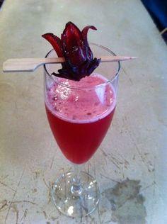 "Say hello to ""Hana Awaka"" our new sparkling sake Cocktail with edible hibiscus!"