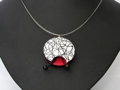 Statement Ketten - ART Halskette, schwarz weiß rot Polymer clay Fimo - ein Designerstück von filigran-Design bei DaWanda