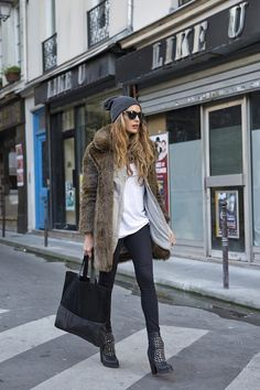totally my style: skinny waxed coated black jeans | studded chunky heeled combat boots | slouchy white tee layered under a loose chambray shirt | topped with a taupe fur coat and beanie