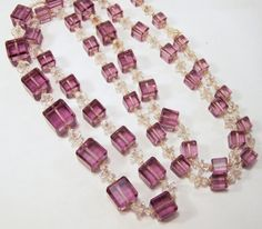 Vintage Art Deco graduated faceted glass bead 35 inch necklace •Square faceted purple beads, separated by clear faceted rondelle and round beads