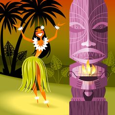 Hula Girl Art Print by Luc Latulippe Hawaiian Homes, Hawaiian Art, Tiki Art, Tiki Tiki, Tiki Decor, Hawaiian Dancers, Tiki Lounge, Hula Dancers, Tiki Room