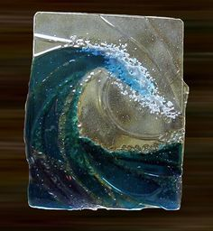www.woventime.com  ocean #wave fused glass art