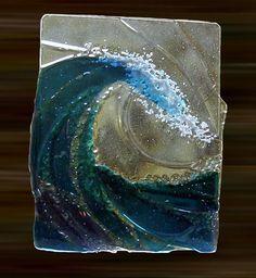 www.woventime.com  ocean #wave fused glass art