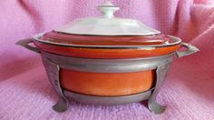 Vintage Serving Bowl Forman Bros Hall China Red-Orange Pearlized w/Stand & Cover #HallBrosChina
