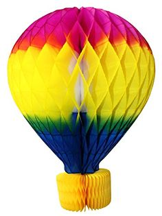 16 inch rainbow colored honeycomb hot air balloon decoration, made in the USA by Devra Party