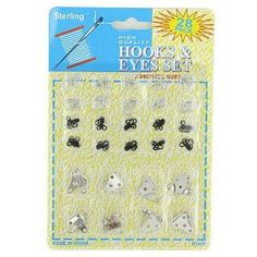 """144 28 Pack sewing hook and eye set by FindingKing. $174.99. Here are 2 different sizes and styles of steel hooks and eyes. They come in blister card package with Upc. The 8 silver, large sets are 5/8"""" x 1/2"""" x 1/4"""" hook and 3/4"""" x 3/16"""" eye. The 10 each black and silver, small sets are 3/8"""" x 5/16"""" x 1/8"""" hook and 5/16"""" x 5/16"""" eye."""