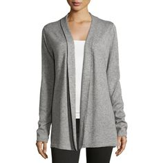 Neiman Marcus Ribbed-Back Long Open Cardigan ($74) ❤ liked on Polyvore featuring tops, cardigans, grey, ribbed cardigan, open cardigan, long cardigan, gray open front cardigan and grey cardigan