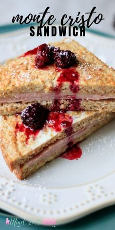 Monte Cristo Sandwich is brunch's version of a ham and cheese sandwich. This recipe for Monte Cristo is served with a fresh blackberry syrup for one sandwich you will never forget! Fun Easy Recipes, Real Food Recipes, Yummy Recipes, Real Foods, Dinner Recipes, Savory Breakfast, Breakfast Recipes, French Toast Batter, Fried Ham
