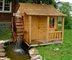 """""""Playhouse or Garden Center PLANS with Waterwheel (4 ft by 6 ft )"""