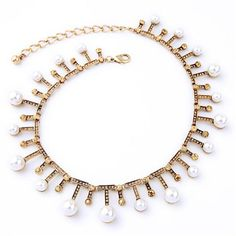 KIMMY - Gold pearl choker necklace