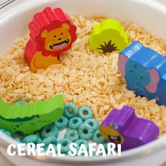 @entertainyourtoddler posted to Instagram:  🦁Taste-Safe Sensory Play🐘 For a quick taste-safe sensory activity, try a cereal safari! (Or zoo, or farm, or construction site depending on your toys!) 😜 Cereal is one of my favorite taste-safe sensory bin fillers for young toddlers. There are so many different kinds and colors of cereal available to make really creative sensory play setups. 🥣 For Lia's Cereal Safari, we used plain puffed
