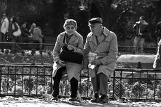 Elderly couple reminiscing in Sofia. Black and white picture  If you use this image I'd be grateful, if you could credit blog.uyora.com/author/svetlana/ Thanks!