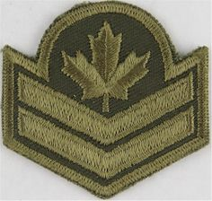 Master Corporal (Maple Leaf Over 2 Chevrons) Canada Green On Olive NCO or Officer Cadet rank badge for sale Military Ranks, Canadian Army, Royal Marines, Royal Air Force, Armed Forces, Troops, Badges, Chevron, Contemporary