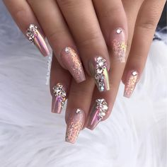 Using :- Glamandglits : ColourPop Acrylic - Heatwave ColourPop Acrylic - Almost nude Swarovski Crystals :- Silk and AB P Sparkle Nails, Glam Nails, Bling Nails, Uk Nails, Sexy Nails, Love Nails, Cute Nail Designs, Acrylic Nail Designs, Art Designs