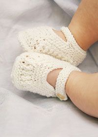 Bootees– Natural Nursery Knits Sizes To fit 0–3 (3–6: 6–9) months Length of bootees 8 (9: 10)cm Materials: 1 x 50g ball of 4ply-weight cotton-blend yarn, such as Rowan Fine Milk Cotton, in pink or white Pair of 2.75mm knitting needles 2 small mother-of-pearl buttons for shoes and 1 button for flower Free booties pattern…