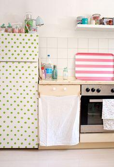 Polka dot fridge | At Home In Love - Wallpapered fridges