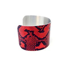 Snakeskin Cuff Bracelet - Red and Black Adjustable Bracelet - Aluminium Jewellery - Reptile Pattern - Animal Jewellery - Animal Pattern