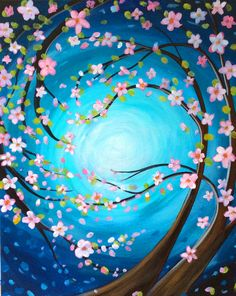 Windswept Blossoms, flowering tree beginner painting idea.