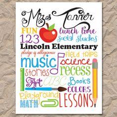 Teacher / School Subway Art, customizable -- Digital / Printable file #teachersubwayart #schoolsubwayart