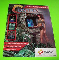 CONTRA By KONAMI 1987 ORIGINAL VIDEO ARCADE GAME PROMO SALES FLYER #contra #konamicontra #videogame