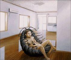 The Beautiful Surrealist Paintings Of Tetsuya Ishida ‹ Page 2 of 2 George Tooker, Hyper Realistic Paintings, Social Art, Surrealism Painting, Unusual Art, Creepy Cute, Japanese Artists, Weird And Wonderful, Love Painting
