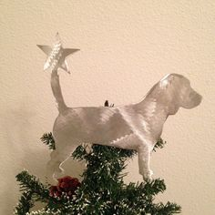 Beagle, Dog Tree Topper, Holiday Decoration, Wreath Decoration, Christmas, Aluminum, Dog Stars