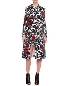 Double-Breasted Floral-Print Coat & Rose-Print Narrow Shift Dress by Dolce & Gabbana at Neiman Marcus.