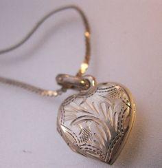 Vintage Heart Locket Miniature Sterling by BrightEyesTreasures, $19.99