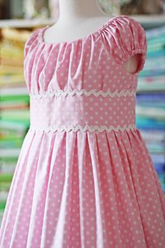 pink and white polka dots with ric rac