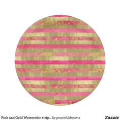 Pink and Gold Watercolor stripes Paper Plate
