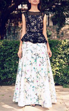 Black peplum embroidered top with grey floral printed skirt Peplum Top Outfits, Peplum Tops, Lehenga Skirt, Saree, India Style, Black Peplum, Design Studios, Floral Print Skirt, Long Blouse