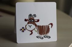 hand stitched animal cards: the goat