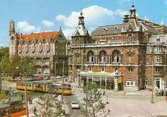 A view of the Leidseplein with tram line 6 in Amsterdam. On the left the American Hotel and on the right the Stadsschouwburg. Amsterdam City Centre, Amsterdam Holland, New Amsterdam, Color Television, 17th Century, Netherlands, Mansions, American, World