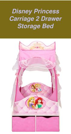 Disney Princess Carriage 2 Drawer Storage Bed | Disney Princess Bedding |  Disney Princess Bedroom Diy   | Princess Rooms | Disney Princess Room Accessories. #girlyrooms #Products Disney Princess Carriage, Disney Princess Bedding, Princess Room, Drawer Storage, Bed Storage, Teenage Girl Bedrooms, Girls Bedroom, Room Accessories, Girly