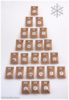 DIY - calendrier de l'Avent kraft & argent, by www.mysweetboutique.fr
