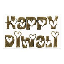 Happy Diwali Greeting Cute Hearts Typography Business Card Size