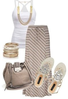 outfit in tan and white