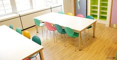 Recent project Great Ormond Street | Spaceist has supplied furniture for a specialist patient dining area at Great Ormond Street Hospital, London. The tables are finished in polar white laminate with a birch ply lacquered edge detail.
