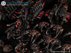 NECRON ARMY REDGLOW LEVEL 4/3/2 - HD SHOWCASE ~ DEN OF IMAGINATION Miniature Painting Service