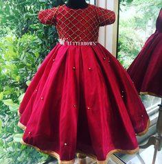 A raw silk gown with handwork bodice for those special occasions. Source by flutterbows Blouses Kids Party Wear Dresses, Kids Dress Wear, Baby Girl Party Dresses, Kids Gown, Dresses Kids Girl, Baby Frocks Party Wear, Girls Frock Design, Kids Frocks Design, Baby Frocks Designs