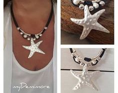 leather starfish pendant necklace, multistrand, pearls, Bohemian, woman leather necklace