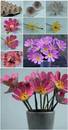 More Beautiful Egg Carton Flowers