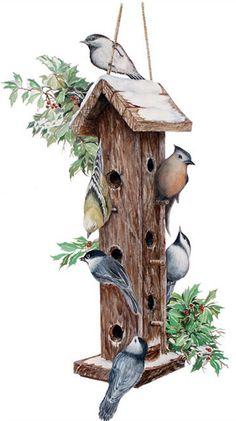 Birds & birdhouse by Ken Helser Frog House, My Father's House, Bird Clipart, Bird Theme, Bird Cages, Vintage Birds, Christmas Gift Tags, Art Festival, Bird Houses