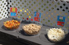 """Snacks for the kiddos.  The favorite was the """"Hop On PopCORN"""" :)"""