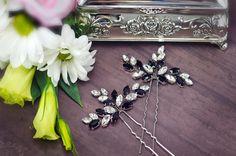 Black white wedding, black rhinestone hair pins, black crystal hair pins, black…