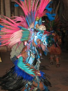 Aztec Dancer celebrating birthday of last Aztec Emperor Cuauhtemoc in Ixcatecopan.