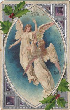 1907 Christmas Postcard - Angels - The Graphics Fairy Vintage Christmas Images, Victorian Christmas, Christmas Pictures, Christmas Blessings, Christmas Angels, Christmas Art, Xmas, Vintage Cards, Vintage Postcards