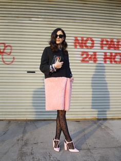 How to wear polka dots like a grown up - the polka dot motif sheer tights paired with this amazing shearling pink paneled coat is just the right amount of girly and chic.